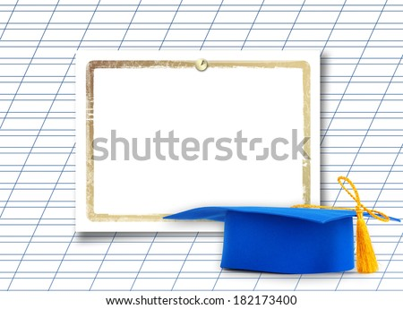 Mortar board or graduation cap with paper leaf  on the background notebook sheet - stock photo