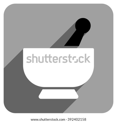 Mortar long shadow glyph icon. Style is a flat mortar iconic symbol on a gray square background. - stock photo
