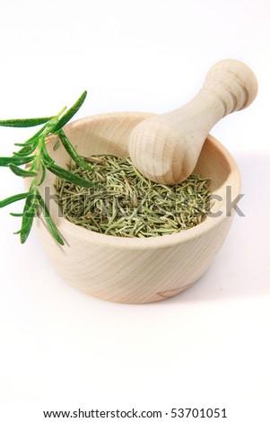 mortar pestle and salt - stock photo