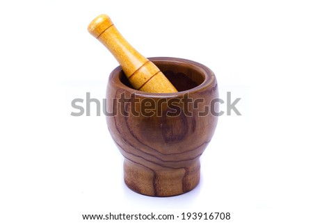 mortar pestle on isolated white background  - stock photo