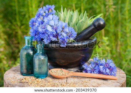 Mortar with blue cornflowers and sage, vials with essential oil. Hyssop grass on background, herbal medicine - stock photo