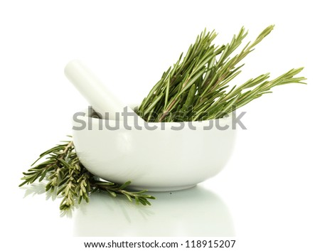 mortar with fresh green  rosemary isolated on white