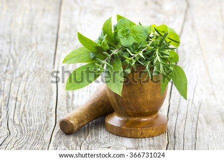 Mortar with fresh herbs on wooden background