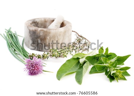 mortar with herbs isolated on white