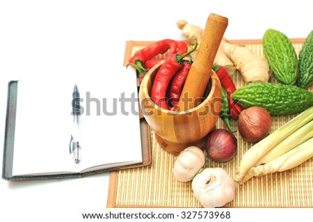 Mortar with spices and herbs for cooking