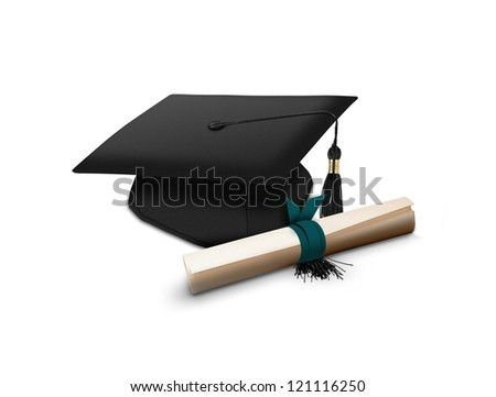 Mortarboard and scroll - stock photo