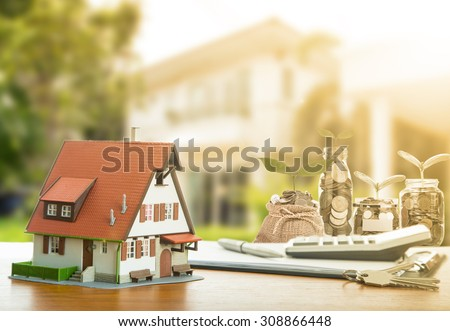 Mortgage and calculator property document. - stock photo