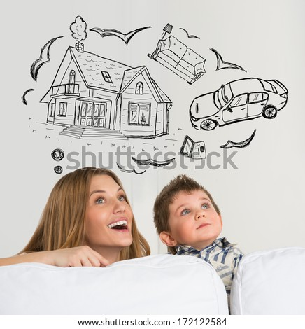 Mortgage and credit concept. Family of mother and her child dreaming about future - stock photo