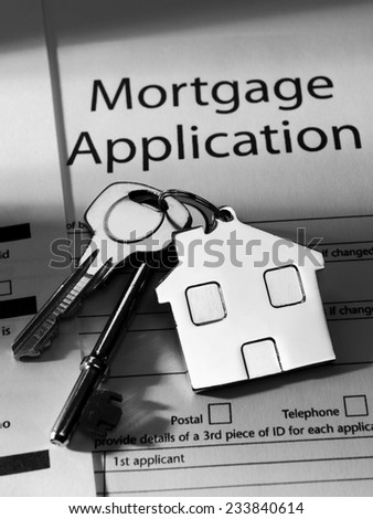 Mortgage Application and a set of keys  - stock photo