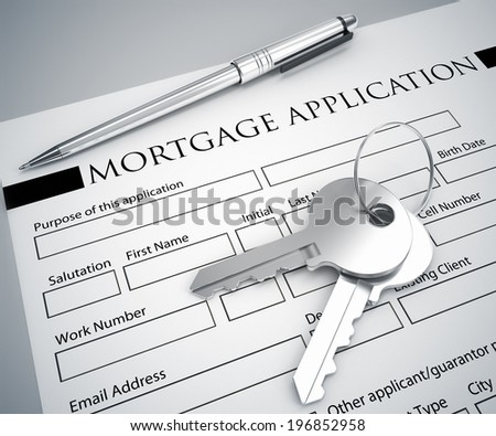 mortgage application form and key - stock photo
