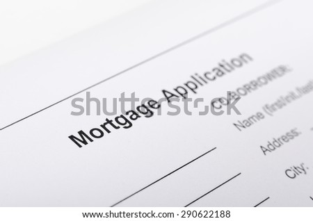 Mortgage application form close up. selective focus, shallow depth of field - stock photo