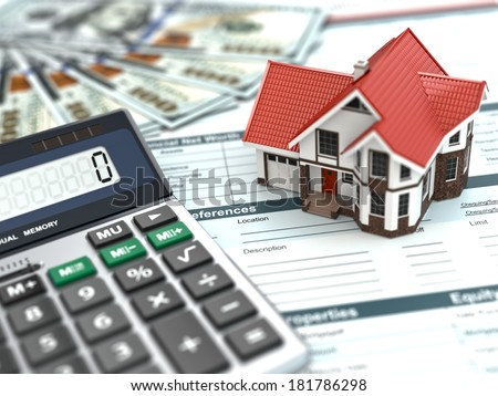 Mortgage calculator. House, noney and document. 3d - stock photo