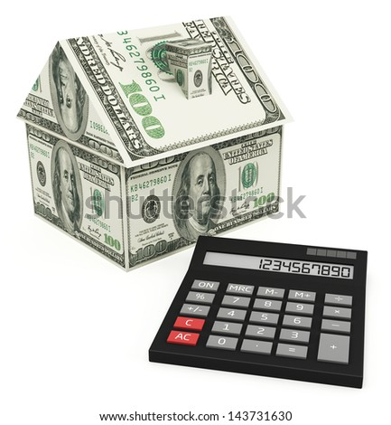 Mortgage calculator on the white background - stock photo