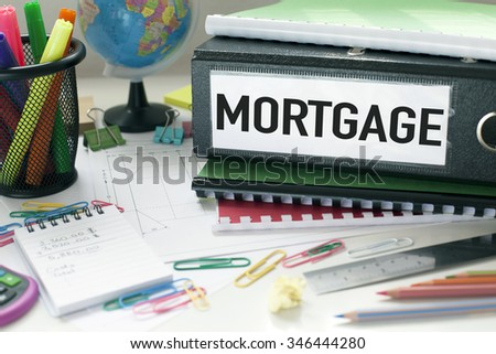 Mortgage / Concept background with files and papers on desk - stock photo