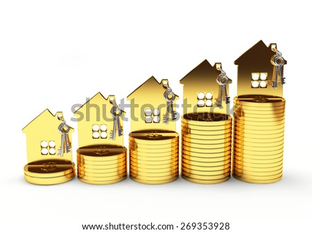 Mortgage concept. Golden house on stack of coins isolated on white background - stock photo