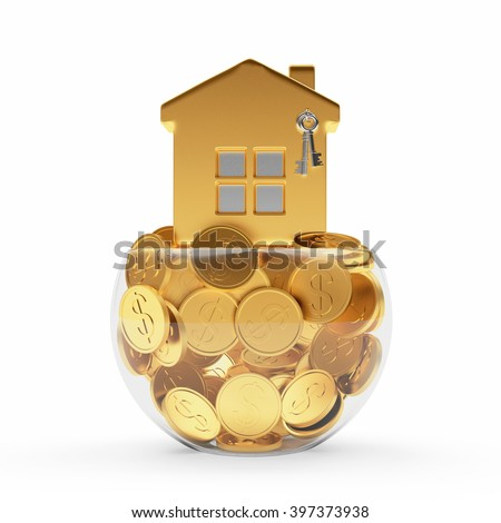 Mortgage concept. Golden house standing on coins in the glass bowl isolated on white background.3d illustration. - stock photo