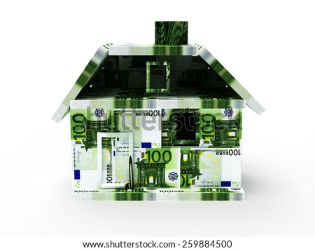 Mortgage concept. House made from Euro banknotes isolated on white background