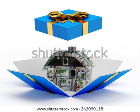 Mortgage concept. House made of dollar bills inside a blue gift box with golden ribbon and bow isolated on white background - stock photo