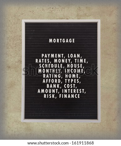 Mortgage concept in plastic letters on very old menu board, vintage look - stock photo