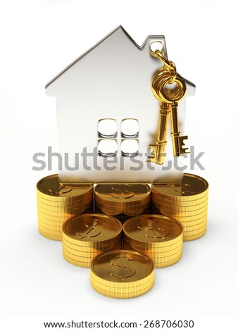 Mortgage concept. Silver house shape on a stacks of golden coins isolated on white background