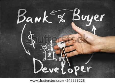Mortgage lending scheme painted on a school Blackboard chalk with keys in hand - stock photo