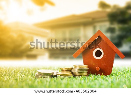 Mortgage loading and calculator property - stock photo