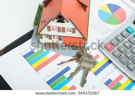 Mortgage loading and calculator property document concept.