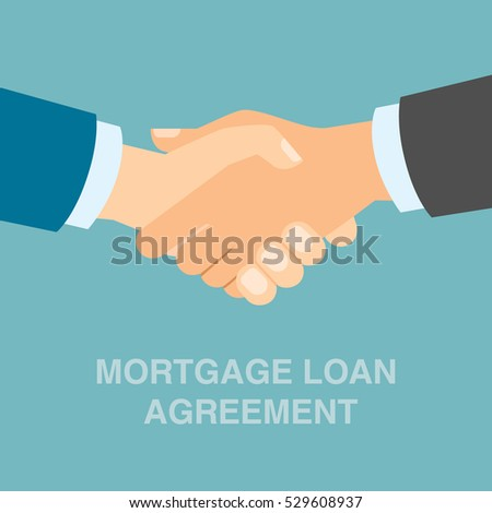 Mortgage loan agreement handshake. Concept of investment, risk and buying.
