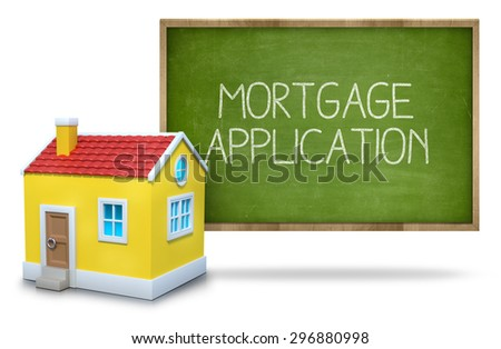 Mortgage text on blackboard with 3d house front of blackboard on white background - stock photo