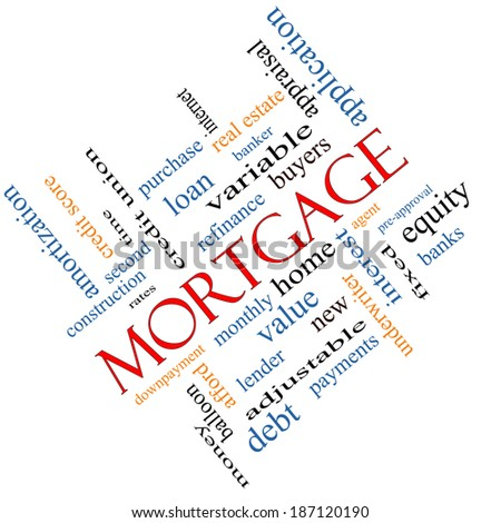 Mortgage Word Cloud Concept angled with great terms such as loan, home, banker and more. - stock photo