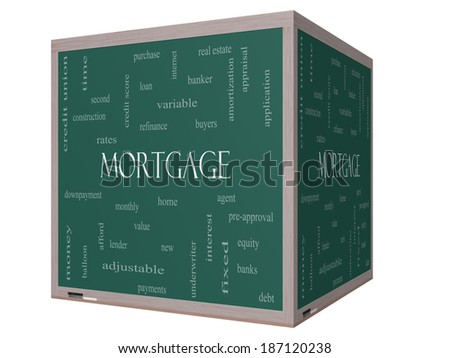Mortgage Word Cloud Concept on a 3D cube Blackboard with great terms such as loan, home, banker and more. - stock photo