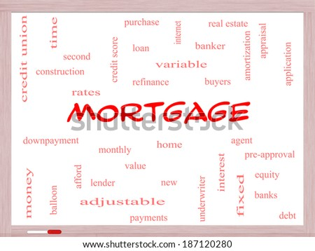 Mortgage Word Cloud Concept on a Whiteboard with great terms such as loan, home, banker and more. - stock photo
