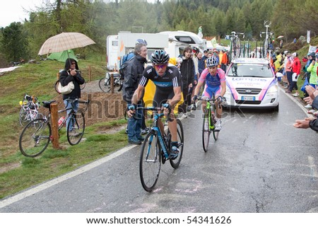 MORTIROLO, SONDRIO, ITALY - MAY 28: Cunego and Cioni during the 19th stage of 2010 Giro d'Italia on May 28, 2010 on Mortirolo's climb, Sondrio, Italy