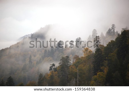 Morton's Overlook in the Great Smoky Mountains - stock photo
