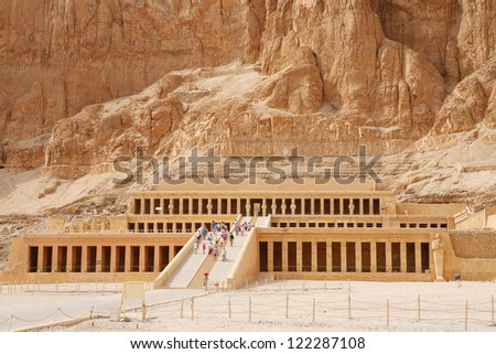 Mortuary Temple of Queen Hatshepsut. West Bank, Luxor, Nile Valley, Egypt - stock photo