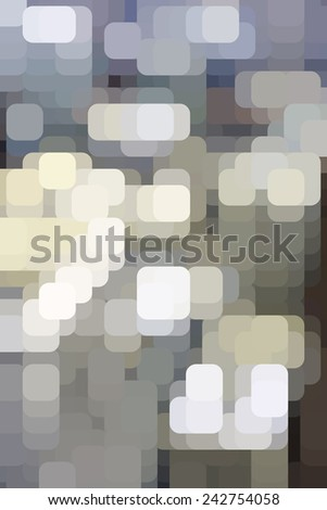 Mosaic abstract of rounded squares like city lights on an urban grid, overlapping for illusion of three dimensions - stock photo
