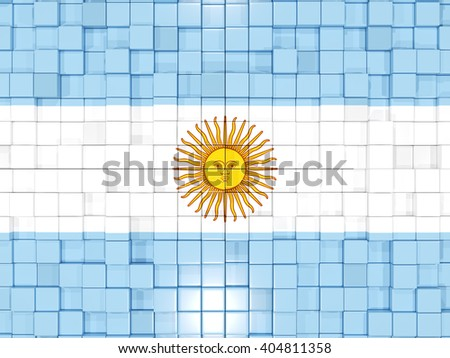 Mosaic background with square parts. Flag of argentina. 3D illustration - stock photo