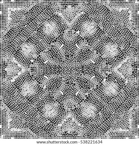 Mosaic black and white artistic pattern for wallpapers, ceramic tiles and design