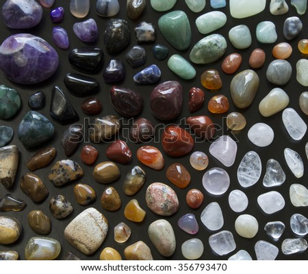 mosaic collection of gem stones - stock photo