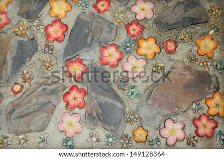 mosaic decoration on the walkway - stock photo
