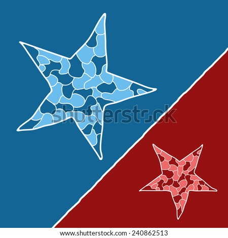 Mosaic doodle star in blue and red variants