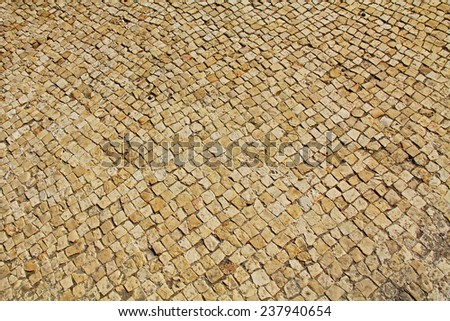 Mosaic floor ruins in Caesarea Maritima National Park, a city and harbor built by Herod the Great about 25-13 BC. The archaeological ruins are on the Mediterranean coast of Israel. - stock photo