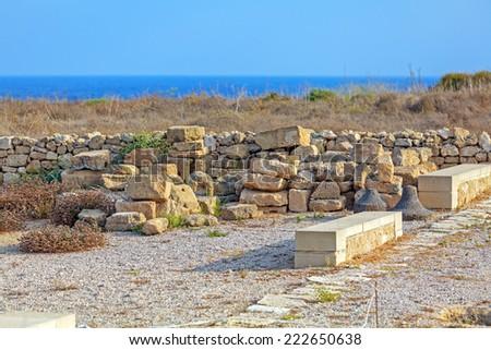 Mosaic floors of elite romans villas (3-5th.c) with scenes from Greek mythology, UNESCO heritage site, Paphos, Cyprus  - stock photo