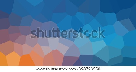 Mosaic geometric pattern of blue sky and rising sun background. The sunrise or sunset polygonal texture banner. - stock photo