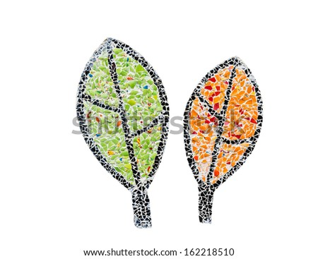 mosaic  green and orange leaves isolated on white - stock photo