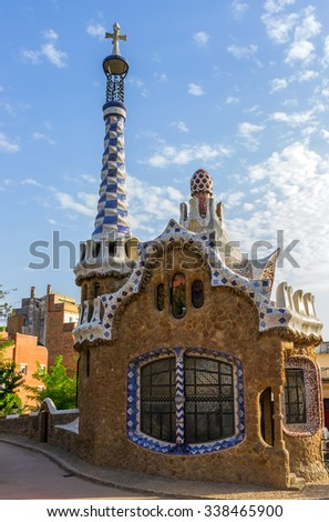 Mosaic House at the Parc Guell designed by Antoni Gaudi located on Carmel Hill, Barcelona, Spain. - stock photo