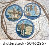 Mosaic in front of the church on the Mount of Beatitudes - stock photo