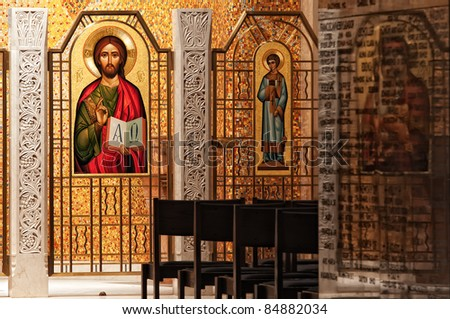 Mosaic of Christ in a small chapel at the Basilica of the Immaculate Conception in DC - stock photo