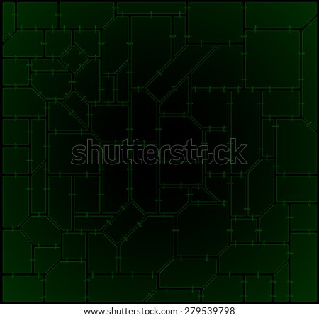 Mosaic of geometric plates with chains - stock photo