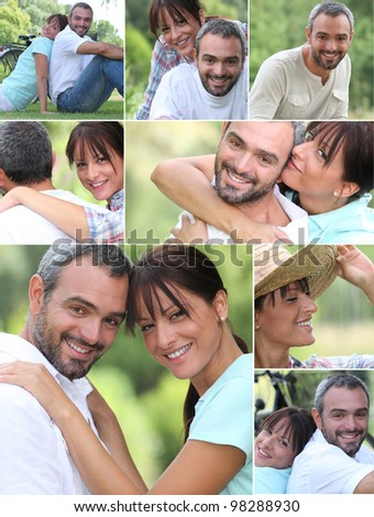 Mosaic of  happy couple at the park - stock photo
